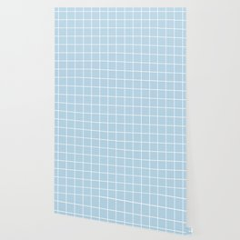 Columbia Blue - heavenly color - White Lines Grid Pattern Wallpaper