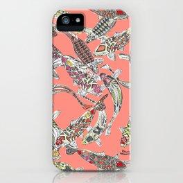 lucky koi coral iPhone Case