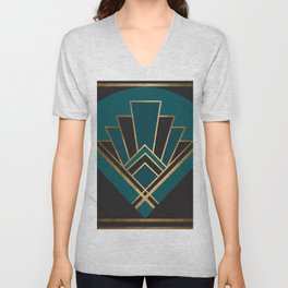 Art Deco New Yesterday In Teal Unisex V-Neck