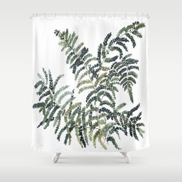Woodland Fern Botanical Watercolor Illustration Painting Shower Curtain