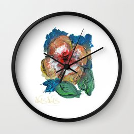 FLOWER RED AND BLUE Wall Clock