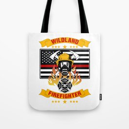 Wildland Firefighter Hero Thin Red Line Smokejumper Gift Tote Bag