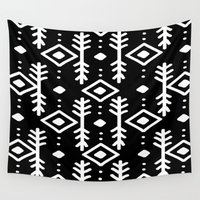 nordic Wall Tapestries featuring BLACK NORDIC by Nika
