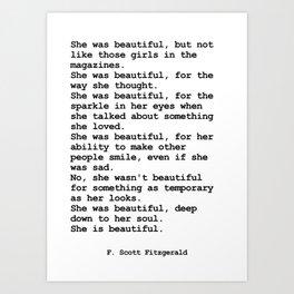 She was beautiful by F. Scott Fitzgerald #minimalism #poem Art Print