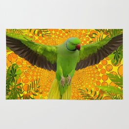MAGNIFICENT GREEN PARROT GOLD JUNGLE MODERN ART Rug