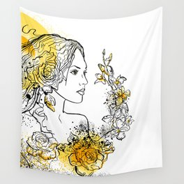 nature flower woman Wall Tapestry