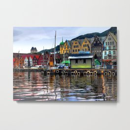 Bergen Harbour Metal Print