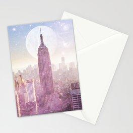 I LOVE PINK NEW YORK CITY SKYLINE - Full Moon Universe Stationery Cards