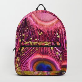 Pink Peacock Feathers Backpack