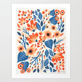 Mixed Florals - Peach & Blue Palette Art Print