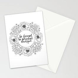 Be Focused. Be Persistent. Never Quit. Stationery Cards