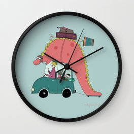 Dino on the move Wall Clock