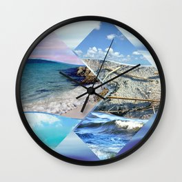 Sea, Sand and Sky Collage Wall Clock