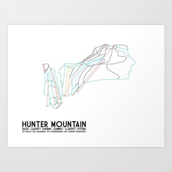 Hunter Mountain, NY - Minimalist Trail Art Art Print