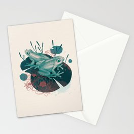 Frogs in water lilies Stationery Cards