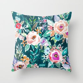EFFUSIVE FLORAL Dark & Colorful Boho Pattern Throw Pillow