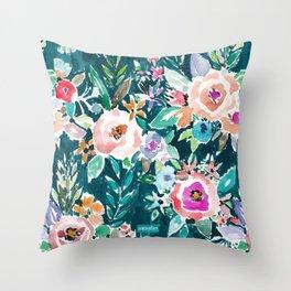EFFUSIVE FLORAL Dark & Colorful Boho Pattern Throw Pillow