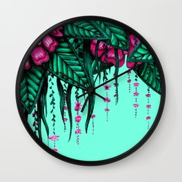 Beautiful Bold Pink Green Delicate Hanging Flowers Wall Clock