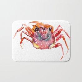 Crab, red pink orange kitchen artwork design Bath Mat