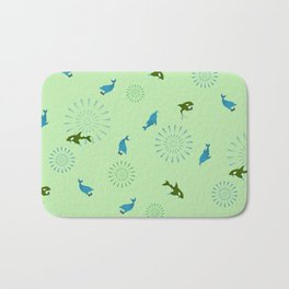 Green Orca and Dolphin Bath Mat
