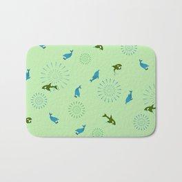Green Orca and Dolphin Bath Mat