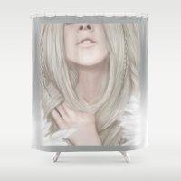 aurora Shower Curtains featuring Aurora by Hallowette