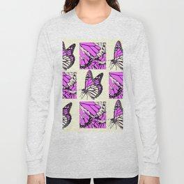 DECORATIVE FUCHSIA PINK BUTTERFLY IDENTIFICATION CHART Long Sleeve T-shirt