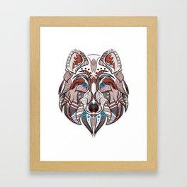 wolf illustration red/blue Framed Art Print