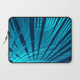 Tropical Blue Fan Palm Leaves Abstract Design Laptop Sleeve