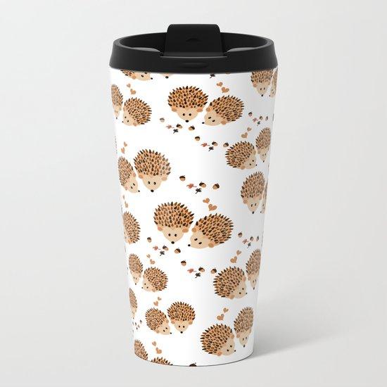 Hedgehogs in autumn Metal Travel Mug