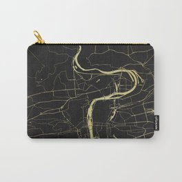 Prague Black and Gold Map Carry-All Pouch