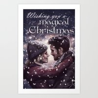 captain swan Art Prints featuring Captain Swan Magical Christmas by Svenja Gosen