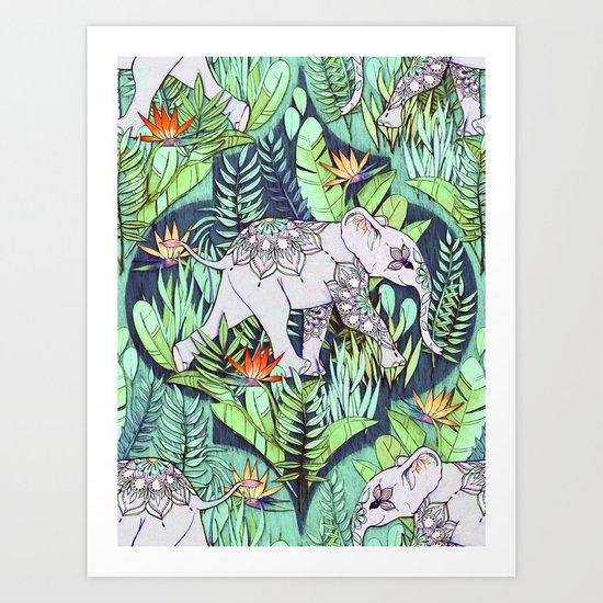 Little Elephant on a Jungle Adventure - faded vintage version Art Print