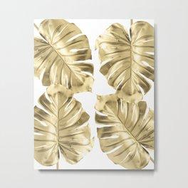 Gold Monstera Leaves on White Metal Print