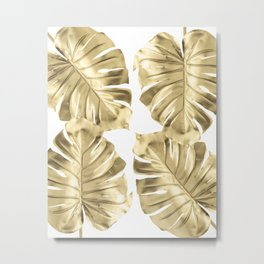 Gold Monstera Leaves on White Metal Print