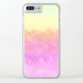 Abstract pink coral sunshine yellow watercolor brushstrokes Clear iPhone Case