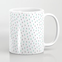 Watercolor Leaf on White. Colorful Floral Doodles Spring Pattern Coffee Mug