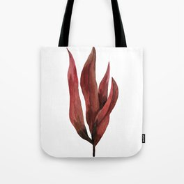 Red Tropical Leaves Tote Bag
