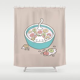 Milky Cat Cereal Bath Shower Curtain