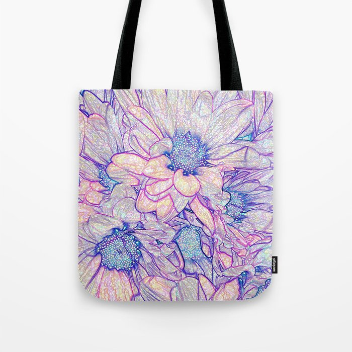 Colorful Floral Sketch Abstract Tote Bag