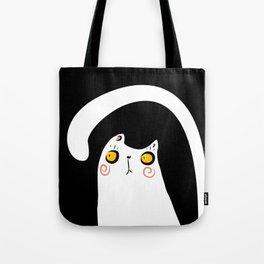 Dark Night White Cat Tote Bag