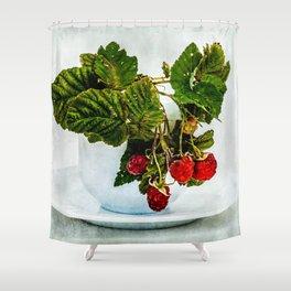 Fresh raspberries in a teacup Shower Curtain
