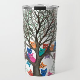 Connecticut Whimsical Cats in Tree Travel Mug