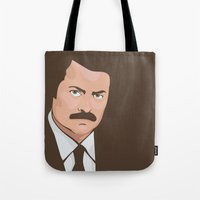 ron swanson Tote Bags featuring Ron Swanson by CheekyMonkeyArt