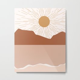 Sunrise Blush Beach Metal Print
