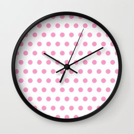 new polka dot 44 - pink Wall Clock