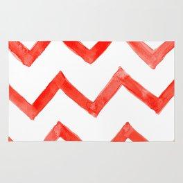 Red Chevron Pattern Rug