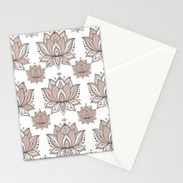 Lotus Mandala Doodle Pink Marble Pattern Stationery Cards