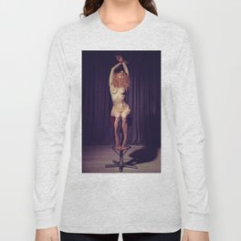 Tied up nude woman on a bar stool Long Sleeve T-shirt