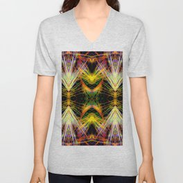 Yellow Bright Rays,Fractal Art Unisex V-Neck